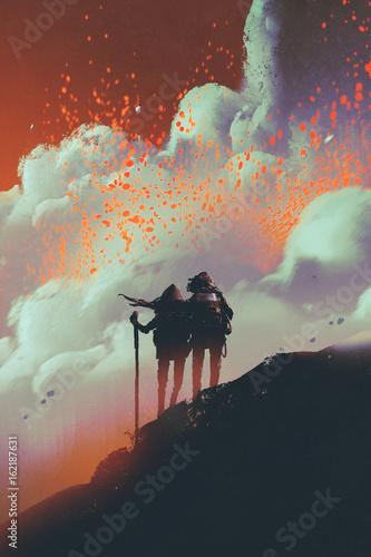 sylwetki turystów stojących na górze oglądając dym z eksplozją lawy z wulkanu, styl sztuki cyfrowej, malarstwo ilustracyjne