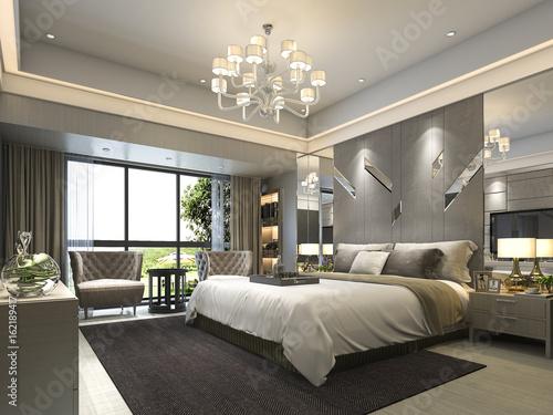 Staande foto Industrial geb. 3d rendering luxury modern bedroom suite in hotel