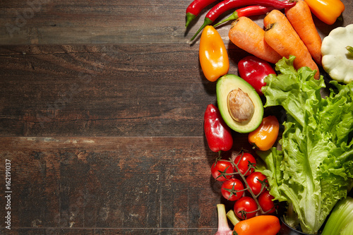 Printed kitchen splashbacks Fresh vegetables Healthy Food & drink diet Italian lifestyle: Mediterranean fruits vegetables herbs spices. Top view. Wooden rustic background. Free space text layout
