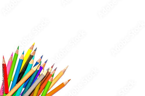 Color pencil and pencil with white background and crayon for isolate and cut out Wallpaper Mural