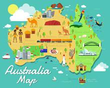 Australia Map With Colorful La...
