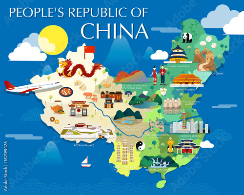 People\'s republic of China map with colorful landmarks illustration ...