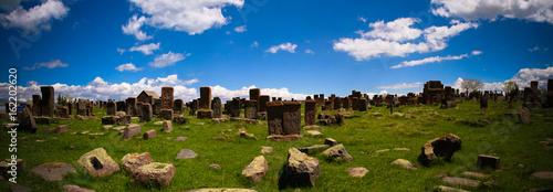 Ingelijste posters Begraafplaats Stone slabs aha khachkar in Noratus cemetery, Armenia