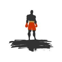 Boxer Silhouette Posing On Gru...