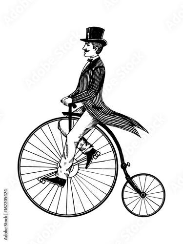 Man on retro vintage old bicycle engraving vector