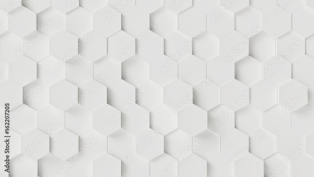 White Hexagon Wall Background