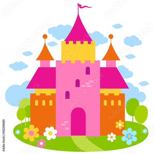 Foto op Aluminium Kasteel Beautiful fairy tale castle. Vector illustration