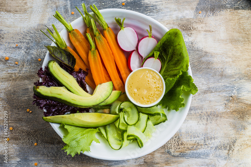 Tuinposter Boeddha Buddha bowl, healthy and balanced food.