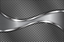 Metal Perforated Background With Stainless Steel Wave