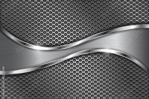 Valokuvatapetti Metal perforated background with stainless steel wave
