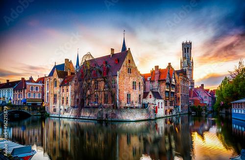 Wall Murals Bridges Beautiful view of Brugge (Bruges) old historical town in Belgium