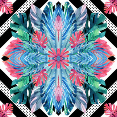 FototapetaWatercolor tropical leaves symmetric arrangement on geometrical background.