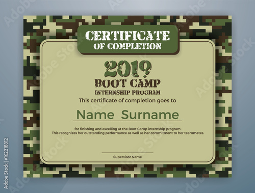 Fotografie, Obraz  Boot Camp Internship Program Certificate Template Design with Camouflage Background for Print