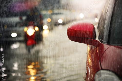 Fotografie, Obraz  Flood after hard rain fall in the big city.Selective focus.