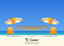 Summer Beach Landscape With Orange Beach Chair, Orange Beach Umbrella And Summer Typography Hanging On A Clothesline On Blue Gradient Sky Background  With Copy Space. Vector Illustration.