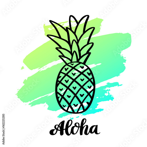 Fototapeta  Pineapple with the handwriting inscription:  Aloha in a trendy calligraphic style