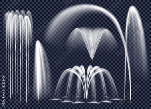 Leinwand Poster Realistic Fountains On Transparent Background Set