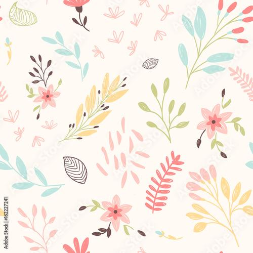 Śliczny kwiecisty wzór z kwiatami i liściem. Wektor bez szwu wydruku.