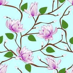 Fototapeta Magnolia blossom seamless pattern on blue background.