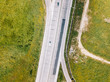 Aerial Drone View Of Country Roads Traffic With Moving Cars