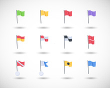 Beach Warning Flags Vector Icons Set