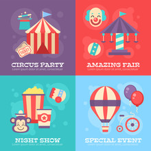 Retro Circus Banners With Vint...