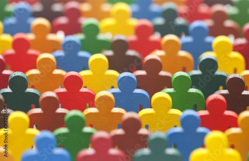Colorful painted group of people figures