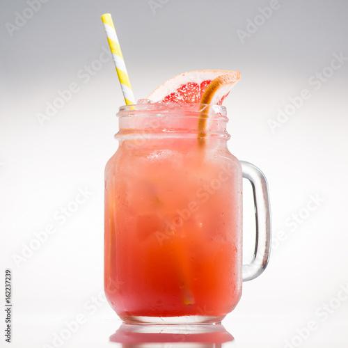 Valokuva  lemonade with citrus in mason jar