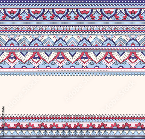 Foto auf AluDibond Boho-Stil Seamless doodle illustration, zentangle pattern, wallpaper, background, texture. Indian Orment. Design for printing on fabric, textiles. Template for web design, greeting cards, coloring book page
