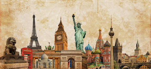 FototapetaWorld landmarks and cities skyline photo collage on sepia textured background, travel, tourism and study trip around the world concept, vintage postcard