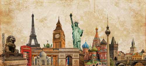 Zdjęcie XXL World landmarks photo collage on vintage tes sepia textured background, travel, tourism and study around the world concept, vintage postcard