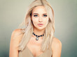 Leinwanddruck Bild - Beautiful Blonde Woman Fashion Model with Makeup and Blonde Hair