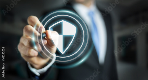 Businessman using shield safe protection to protect his datas 3D rendering Fototapet