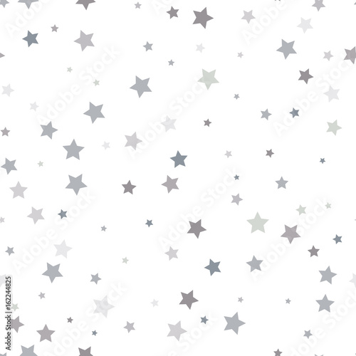 Poster Artificiel Abstract white modern seamless pattern with silver stars. Vector illustration. Shiny background. Texture of silver foil.