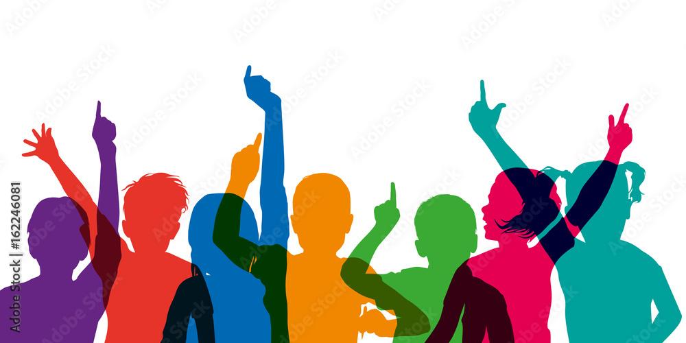 Fototapeta enfant - école - lever la main - éducation - réponse - répondre - connaissance
