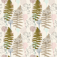 Naklejka Florystyczny Floral pattern with fern leaves, dandelions and grasses.