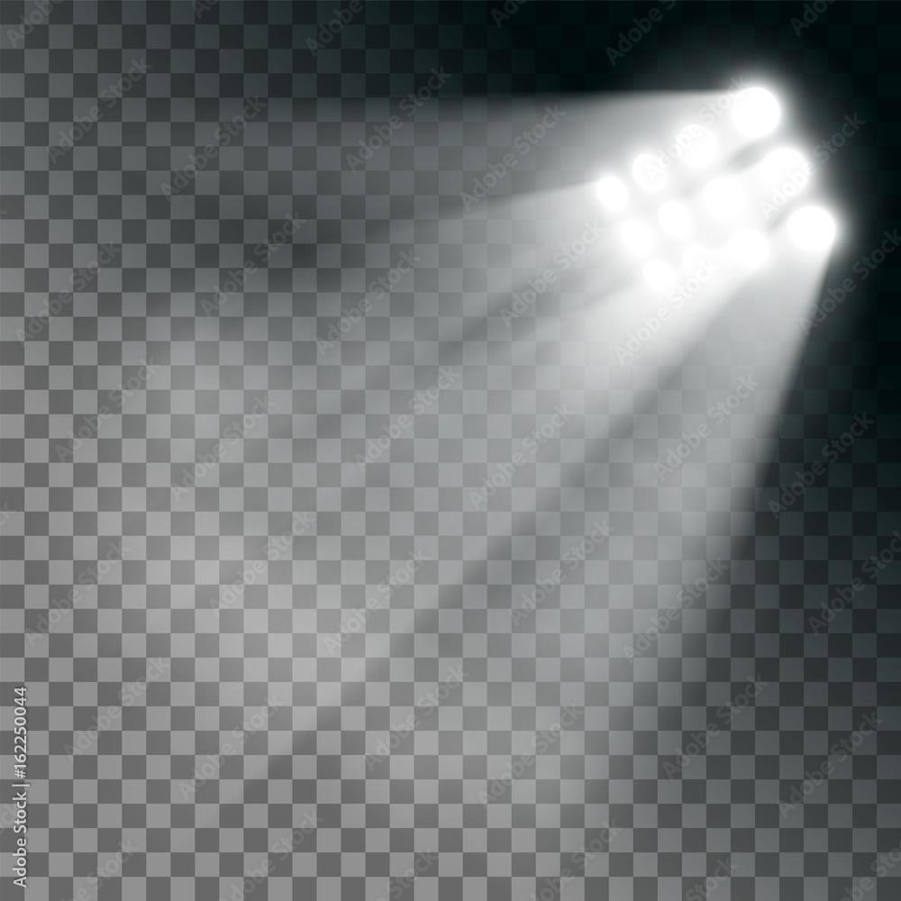 Fototapeta Stadium lights effect on a transparent background. - obraz na płótnie