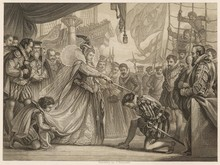 Francis Drake Knighted In Deptford By Queen Elizabeth I.. Date: 4th April 1581