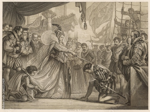 Fotografie, Tablou Francis Drake knighted in Deptford by Queen Elizabeth I