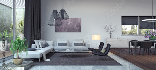 Living room, interior design 3D Rendering Slika na platnu