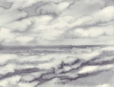 poranna mgła nad morzem czarne białe tło akwarela - 162253294