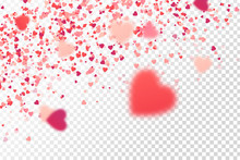 Vector Isolated Heart Confetti On The White Background. Concept Of Happy Birthday, Party, Romantic Event And Holidays.