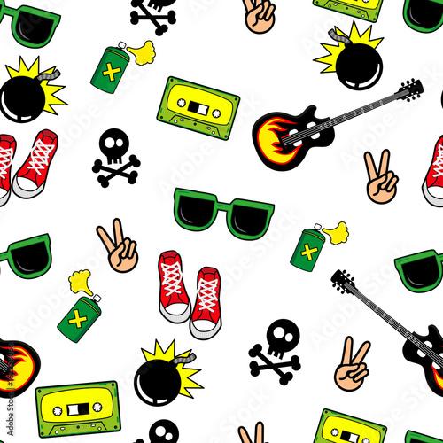 Śliczne dzieci wzór dla dziewcząt i chłopców. Kolorowe obiekty młodzieżowe na abstrakcyjnym tle grunge tworzą zabawny rysunek kreskówki. Tło jest w neonowych kolorach. Miejskie tło dla tkanin i tkanin
