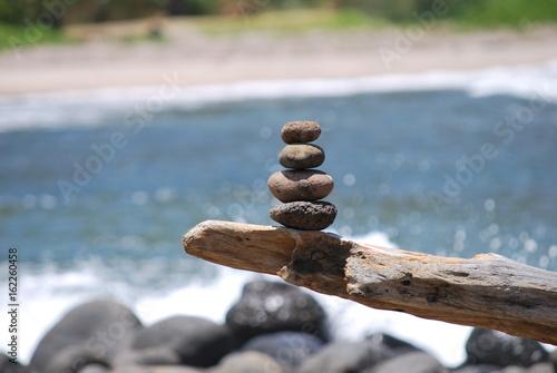 Photo sur Plexiglas Zen pierres a sable Steinmännli auf Ast am Strand von Molokai