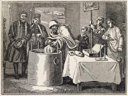 Baptism. Date: 1820 Canvas Print