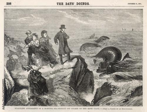 Stampa su Tela Irish sea serpent off Kilkee  Ireland. Date: 1871