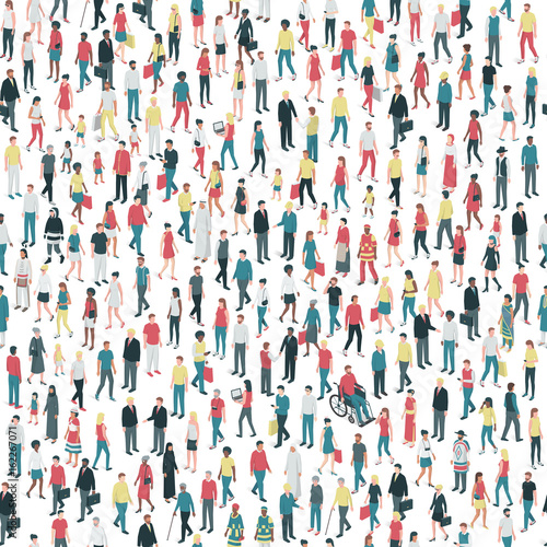 Papel de parede People and diversity seamless pattern