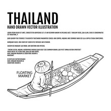 Floating Market Hand Drawn Vector Illustration. Thai Market Elements Design. Thai River.