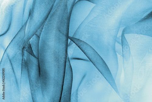 Tuinposter Stof organza fabric in blue color
