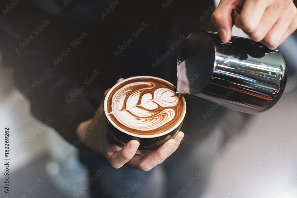Fototapeta Barista make coffee cup latte art